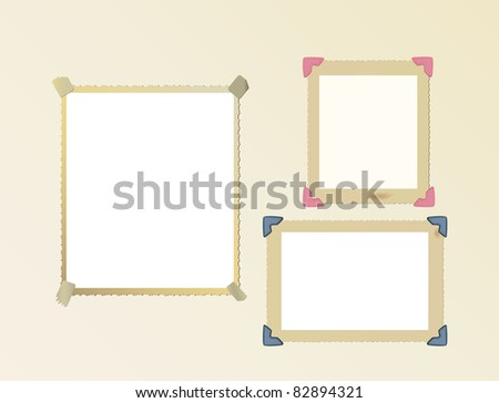 vintage photo frame set, mounted with photo corners and adhesive tape, vector - stock vector