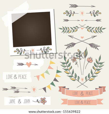 Vintage photo frame with flowers,laurels, wreaths,flags,arrows,hearts,stickers and other scrap elements, mix and match elements with photo frame - stock vector