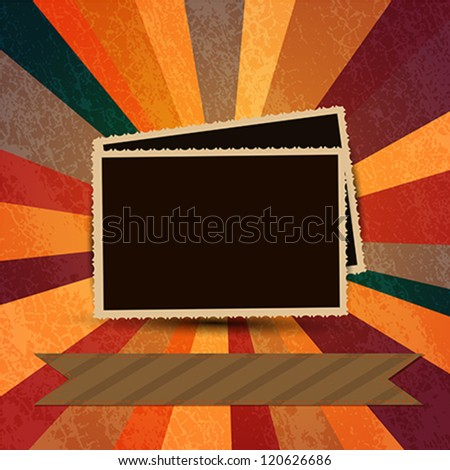 Vintage photo frames with abstract grungy background - stock vector