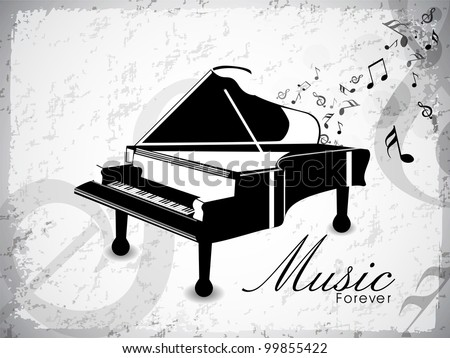 Vintage piano in black and white color with musical notes on grungy grey background and space for your text. EPS 10. Vector illustration. - stock vector