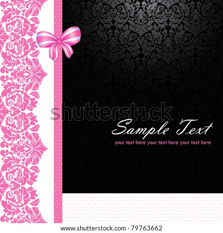 Vintage pink and black card - stock vector