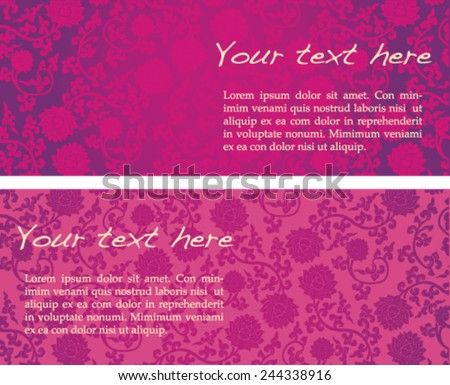 Vintage pink classical oriental lotus pattern horizontal banners with space for text - stock vector