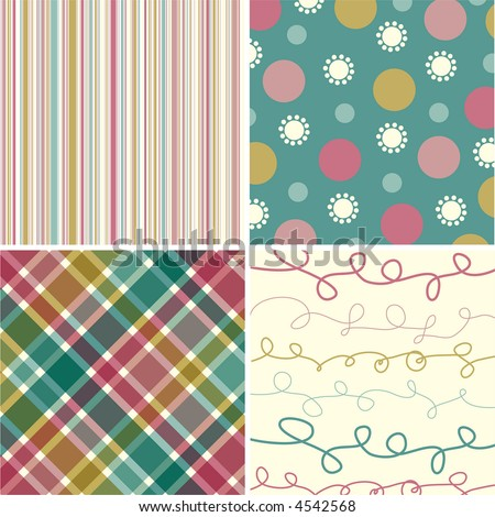 vintage pink turquoise pattern combo (vector) - illustrated pattern - stock vector
