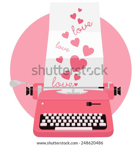 Vintage pink typewriter with sheet of paper. Flat vector illustration. - stock vector