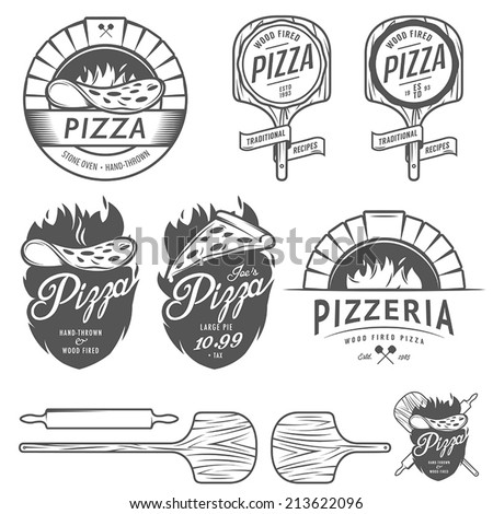 Vintage pizzeria labels, badges and design elements - stock vector