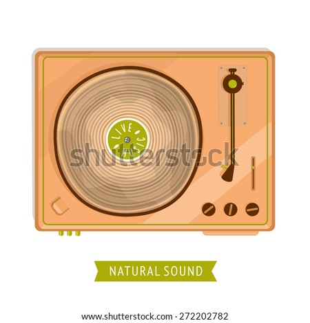 Vintage player with wooden records. Without gradients and transparencies - stock vector