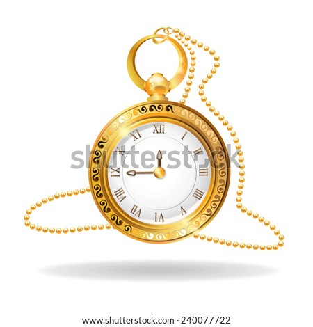 vintage pocket watch - stock vector
