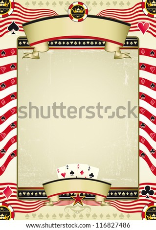 vintage poker tour. A grunge wallpaper for a background poster. - stock vector