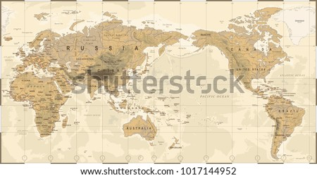 Vintage political physical topographic world map stock vector vintage political physical topographic world map pacific centered vector gumiabroncs Image collections