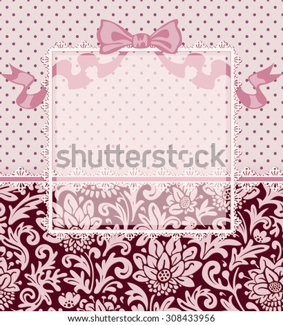 Vintage polka dot background with floral ornament, bow, ribbon, laces and frame for your text or photo. Vector greeting or invitation card. Seamless horizontal border.  - stock vector