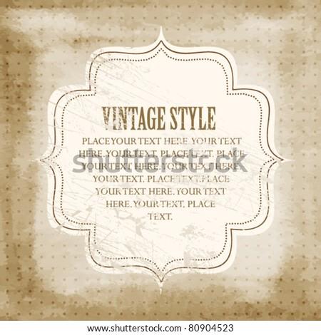 Vintage polka dot card - stock vector