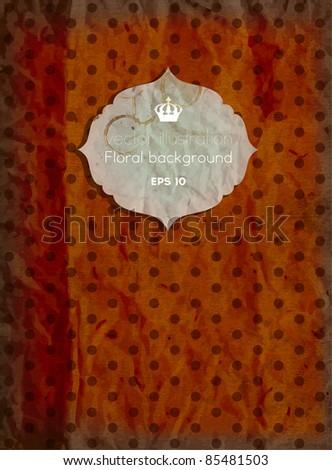 Vintage polka dot card, scrap template of worn distressed design - stock vector
