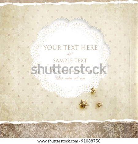 Vintage polka dot card with lace, scrap template of worn distressed design, golden stars - stock vector