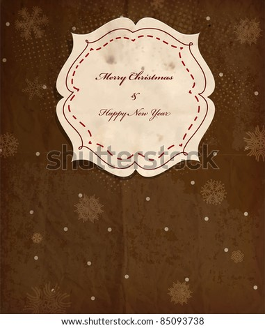 Vintage polka dot card with snowflakes for Christmas invitation, scrap template of worn distressed design - stock vector