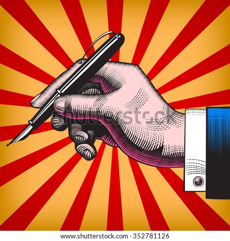 Vintage pop art drawing of hand with a pen. Vector illustration - stock vector