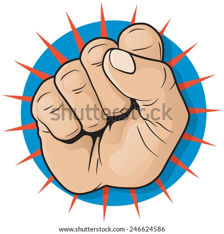 Vintage Pop Art Punching Fist Sign. Great illustration of Pop Art style punching up in the air.  - stock vector
