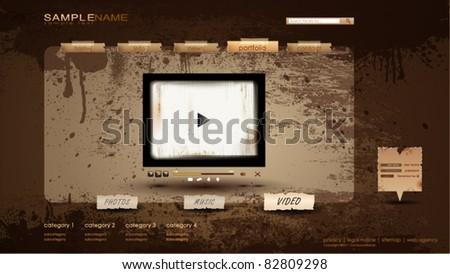 Vintage Portfolio Website page/video 1600x900 - stock vector