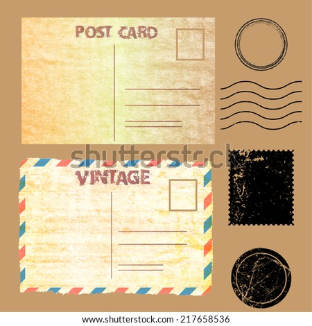 Vintage post mark and stamp. Vector illustration. - stock vector