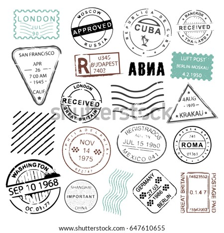 Was Ist Vintage vintage post sts collection mailing letters stock vector