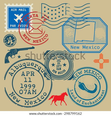 Vintage post stamps set with name of New Mexico, United States, vector illustration - stock vector