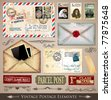 Vintage Postage Design Elements - set of various detailed post stamps and postage illustrations fully editable. - stock photo