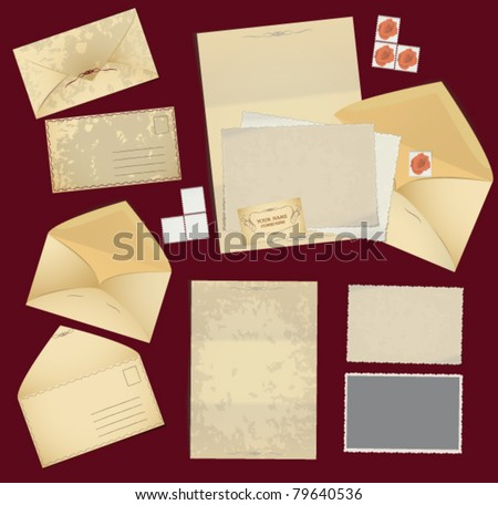 Vintage postage elements: envelopes , stamps , photo frames and paper. Corporate identity elements in vintage style - stock vector