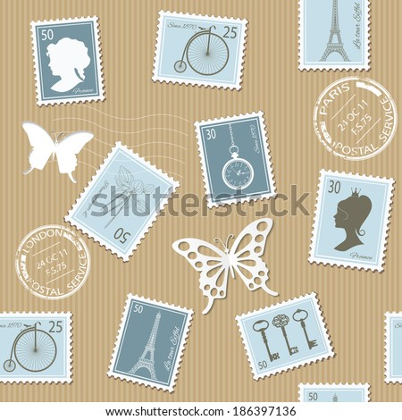 Vintage postage seamless pattern background.