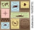 Vintage postage stamps and elements illustration collection background vector - stock photo