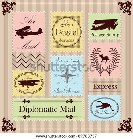 Vintage postage stamps illustration collection background - stock vector