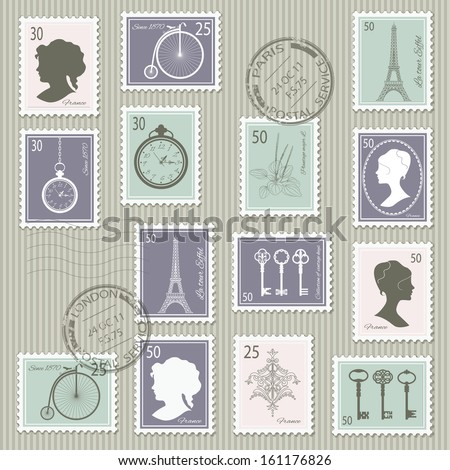 Vintage postage stamps set on stripped grunge paper. Vector illustration. Can be used for scrapbook, invitation cards, collage design. - stock vector