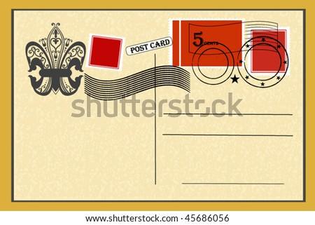 vintage postcard - stock vector