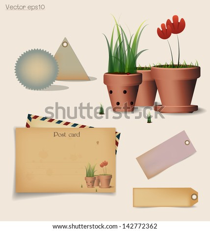 Vintage postcard and envelope with Red flower plant in clay pot. Vector illustration. - stock vector