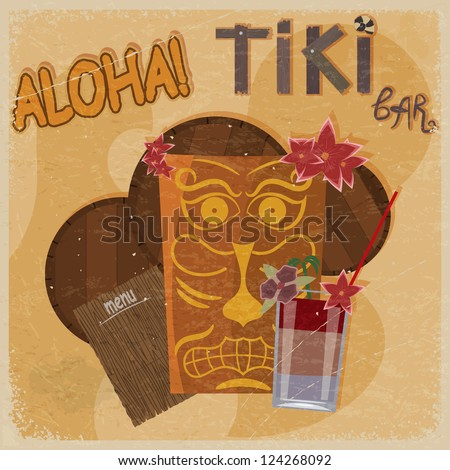 Vintage postcard - for tiki bar sign - featuring Hawaiian masks, guitars and cocktails. eps10