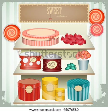 vintage postcard - shop sweets, confectionery - vector illustration - stock vector