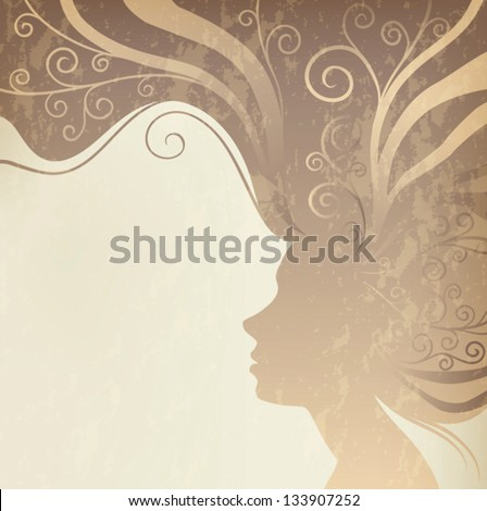 vintage postcard silhouette portrait of beautiful woman with long hair on brown background, vector - stock vector