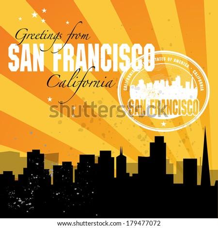 Grunge Rubber Stamp Golden Gate Bridge Stock Vector