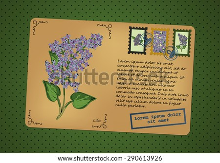 Vintage postcard. Stamps with flowers. Printing with place for your text. Retro background with polka dots. Vector graphics. - stock vector