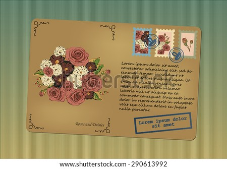 Vintage postcard. Stamps with flowers. Printing with place for your text. Retro background with stripes. Vector graphics. - stock vector