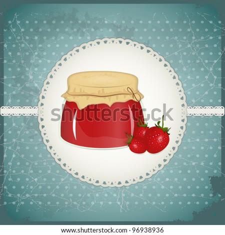 Vintage Postcard - strawberry jam on a retro background - vector illustration - stock vector