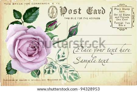 Vintage postcard with a rose. Exclusively hand drawing. - stock vector