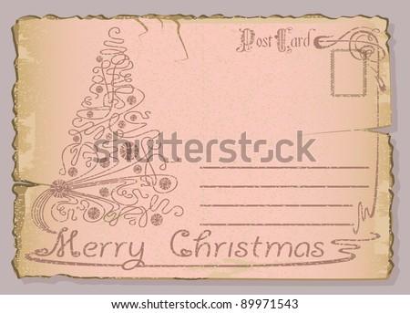 Vintage postcard with Christmas and New Years greeting. Christmas tree - stock vector