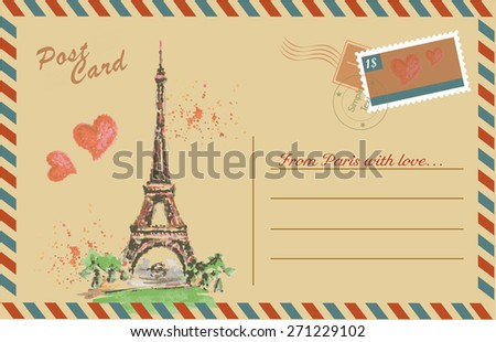 Vintage postcard with Eiffel Tower,watercolor hand drawing,vector