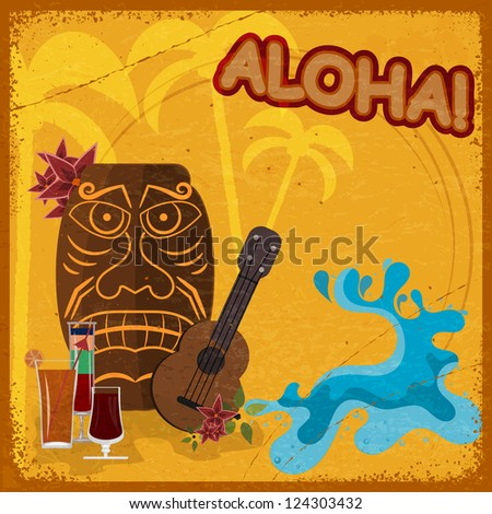 Vintage postcard with  featuring Hawaiian masks, guitars and cocktails. eps10 - stock vector