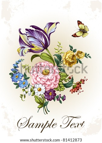 Vintage postcard with flowers - stock vector