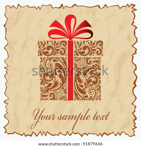 Vintage postcard with gift box. - stock vector