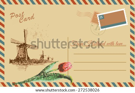 Vintage postcard with Netherlands wind mil and tulips,watercolor hand drawing,vector - stock vector