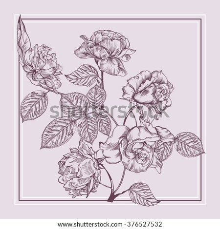 Vintage postcard with rose flowers. 