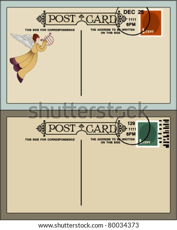 Vintage postcards (one Christmas with angel, one plain) - stock vector