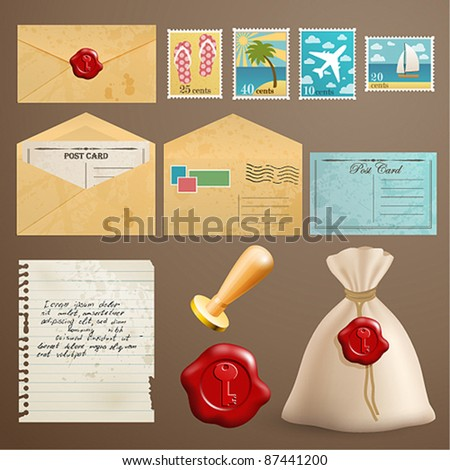 Vintage postcards with post stamps and other elements. - stock vector