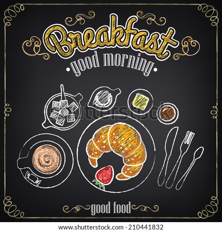 Vintage Poster. Breakfast. Croissant and coffee. Set on the chalkboard for design in retro style - stock vector